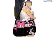 Multi Function Baby Nappy Nappy Changing Bag Changing Mat Mummy Tote Handbag Pink Zebra
