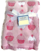 Pink Cupcake Print Soft Plush Baby Blanket for Newborn / Baby Girl