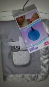 Baby Bundle - Super Soft Wendy Bellisimo Grey Owl Baby Boy Blanket with Blue Gummi Teething Necklace BPA Free