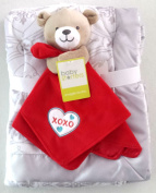 Baby Bundle - Super Soft Wendy Bellissimo Baby Blanket and Baby Snuggle Buddy Bear with Red Blanket