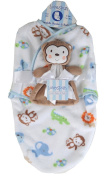 Lovespun Cute Baby Boy's Monkey Swaddle Blanket and Buddy