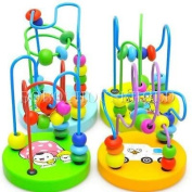 Colourful Wooden Toy Mini Around Beads Wire Maze Children Baby Educational Game
