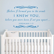 Before I Formed You In The Woml I Knew You Vinyl Bible Wall Sticker Nursery Wall Quote Baby Nursery Wall Decal Wall Graphice Home Wall Art White
