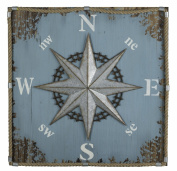 Wood; Burlap & Metal Compass Wall Hanging Model-41010