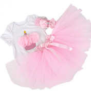 BabyPreg® Baby Girls' 3PCs 1st Birthday Onesie Tutu Dress Headband