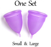 Luna Menstrual Cup, Set of 2 Cups, Small & Large Size, Free Bags, 12 Hours Worry-free Protection, Best Menstruation Solution