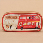 cute cream and brown teddy bear London bus pencil case from Japan