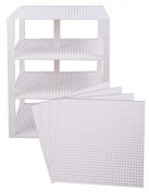 Premium White Stackable Base Plates - 4 Pack 25cm x 25cm Baseplate Bundle with 60 White Bonus Building Bricks (LEGO® Compatible) - Tower Construction