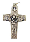 Good Shepherd Jesus Christ Crucifix 4.1cm Silver Tone Pope Francis Cross