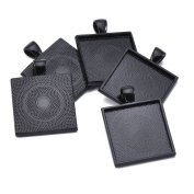 40pcs Black Colour Square Pendant Tray Square Pendant Blanks Cameo Bezel Cabochon Settings - 1""