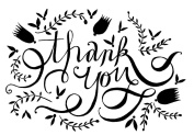 Gourmet Rubber Stamps Cling Thank You Flourish Stamps, 8.3cm x 17cm