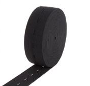Usew 5 Yards of 2.5cm Black Buttonhole Elastic Band