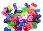 """20 Coloured Safety (BREAKAWAY) Buckles 3/8"""" (10mm). Contoured Side-Release. Good for Cat Collars!"""