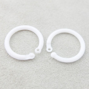 Bluemoona 50 PCS - Plastic Loose Leaf Hinge Snap Ring For Clip O Dee Ring Gate Key 17.5mm
