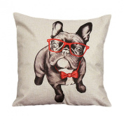 45cm*45cm Wensltd Cute Bulldog Cartoon Pillow Case Cusion Cover