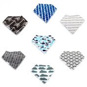 Baby Bandana Drool Bibs By Daulia, Unisex 7-Pack Absorbent Organic Cotton, Cute Baby Gift for Boys & Girls