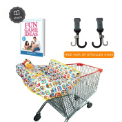 Grocery & Shopping Cart Cover for Baby used in High Chair As Well, Grab with Free Stroller Hook and Awesome Game Ideas