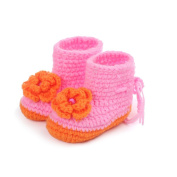 Elee Baby Toddlers Handmade Crochet Knit Flower Booties Soft Sole Shoes Adjustable for Girls