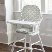French Grey and Mint Quatrefoil High Chair Pad