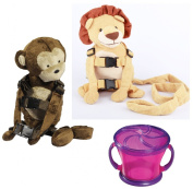 Goldbug Animal 2 in 1 Harness Twin Pack with Free Snack Cup, Lion/Monkey