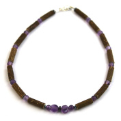 Hazelaid (TM) Child Hazelwood-Gemstone Necklace - 34cm Amethyst