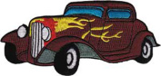 Application Brown Hot Rod with Flames Patch