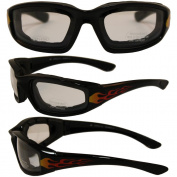 Birdz Eyewear Oriole Padded Motorcycle Glasses with Flame Design
