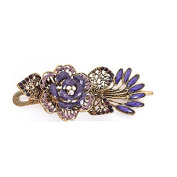 Jackie Art Charms Hair Care Styling Tools Vintage Brass Colourful Crystal Peacock Hair Clip Hairpin Hairband