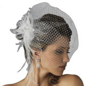 Danica Women's Jewelled Feather Fascinator Comb with Birdcage Veil - White or Ivory