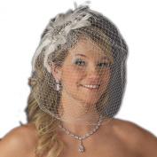 Olga Women's Vintage Couture Feather Wedding Bridal Clip with Birdcage Veil - White or Ivory