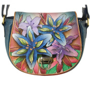 Anuschka Leather Saddle Crossbody Shoulder Bag Buckle Clasp