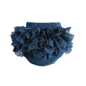 Girl Baby's Cotton Lace Ruffle Bloomer and Underwears Nappy,Black,Large Size