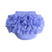 Girl Baby's Cotton Lace Ruffle Bloomer and Underwears Nappy,Purple,Medium Size