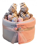 Twin Baby Boy Girl Baby Gift Zebra Nappy Cake Hamper - FREE Delivery