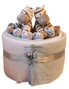 Twin Baby Boy Zebra Nappy Cake Hamper gift - FREE Delivery
