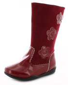 New Girls/Childrens Red Patent Boot With Flower Detail - Red - UK SIZES 4-10