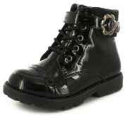 New Girls/Childrens Black Patent Ankle Boots With Inside Zip Fastening - Black Patent - UK SIZES 5-1