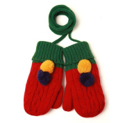 PromiseTrue Baby Cute Double Ball Knitting Wool Gloves,Red