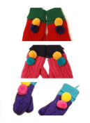 PromiseTrue Baby Cute Double Ball Knitting Wool Gloves Pack of 3 Pairs