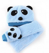 PromiseTrue Cute Panda Unisex-Baby Cap with Scarf Set Keeping Warm in Winter,Blue