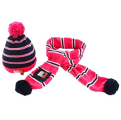 ReachTop Fashion Lovely Baby Kids Girls Boys Warm Winter Knit Crochet Hat with Scarf, Pink