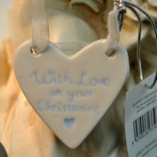White And Blue Ceramic Heart New Boy With Love On Your Christening Plaque Gift Tag Christening 1St Baby Gift