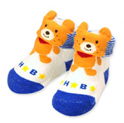 MIKI HOUSE HOT BISCUITS BABY SOCKS (TEDDY BEARS) BABY BOYS 6 MONTHS - BRAND NEW