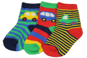 New Baby Boys 3 pack socks (various designs) 0-24 months vehicles and monsters (Shoe size 0-2.5
