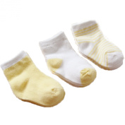 Gift Box 3 pairs of cotton socks for newborn baby socks baby, full cotton socks, 0-1 years, yellow
