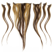 46cm 46cm Clip In 100% Real Remy Human Hair Extensions 6 Pieces #4*27 Mix Brownish Blonde