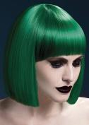 Womens Halloween Deluxe Gothic Green Blunt Lola Wig