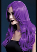 Womens Halloween Deluxe Gothic Long Purple Wavy Khloe Wig