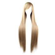Rise World Wig New Two Tone Long Straight Anime Cosplay Wigs Heat Resistant Hair Wig(Flaxen), Flaxen