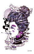 Body Art Temporary Removable Tattoo Stickers Smoking Woman LC751S Sticker Tattoo - FashionLife